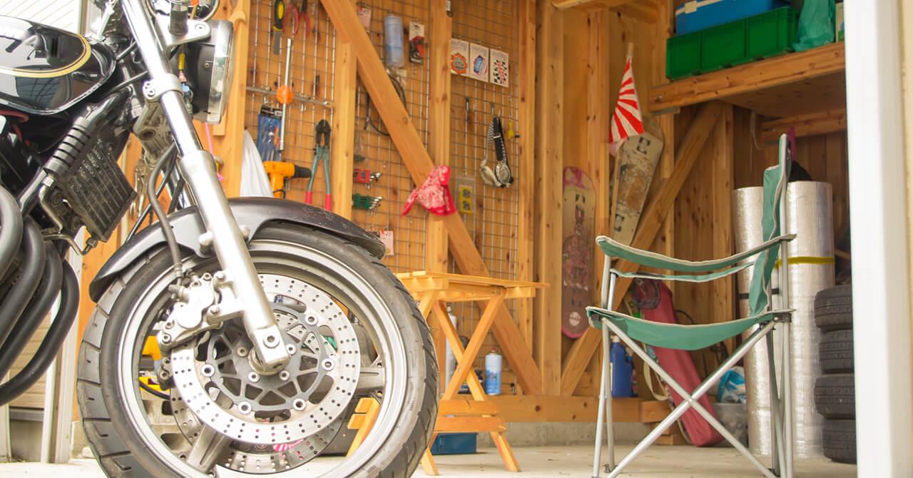 トランクルームでバイク保管