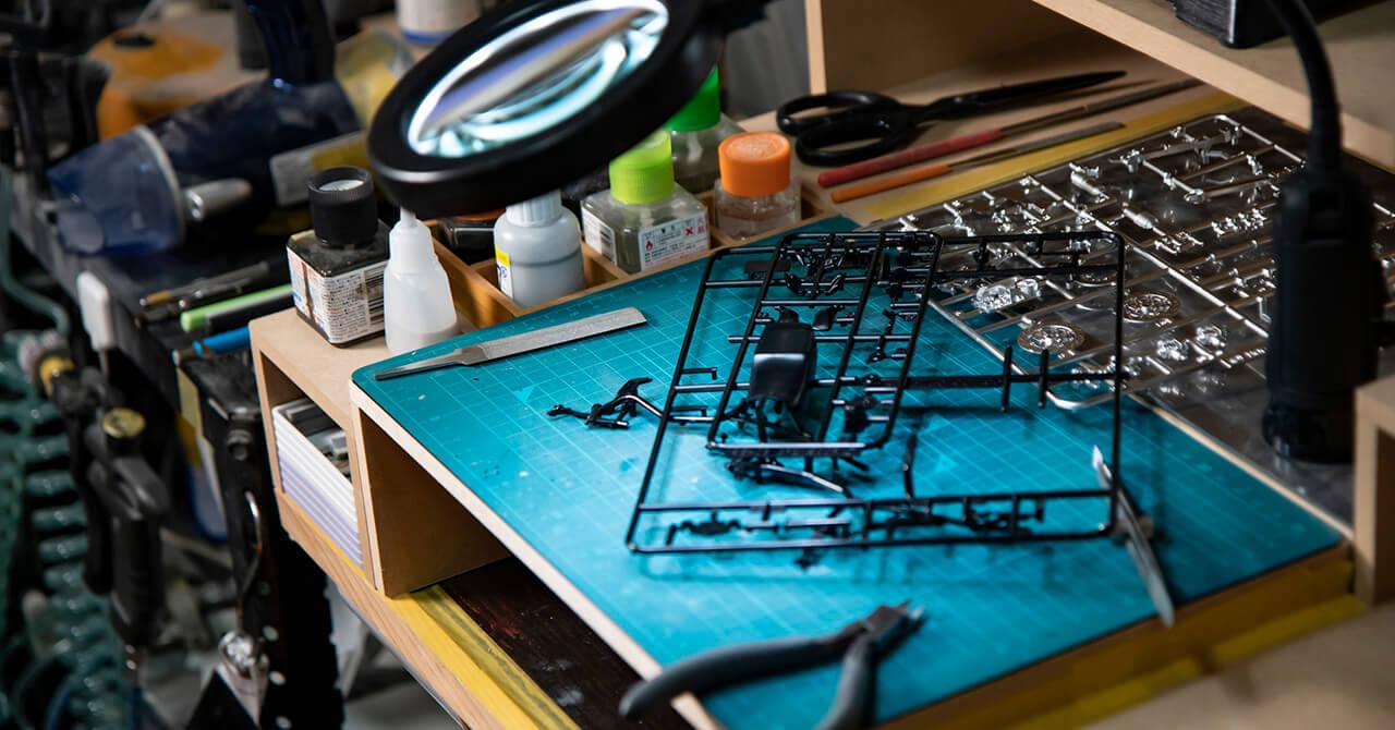 プラモデルの制作スペース